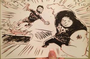 Brock Lesnar attacks CM Punk by JonDavidGuerra