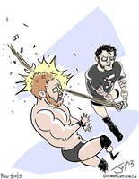Cm Punk hits Curtis Axel with a Kendo stick! by JonDavidGuerra
