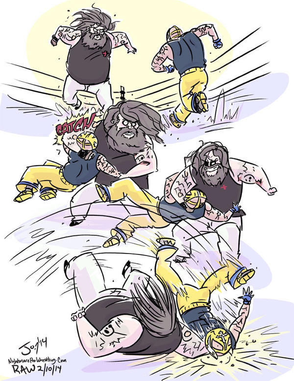 Bray Wyatt hits Rey Mysterio with Sister Abigail by JonDavidGuerra