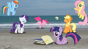 Ponies at the Beach Wallpaper