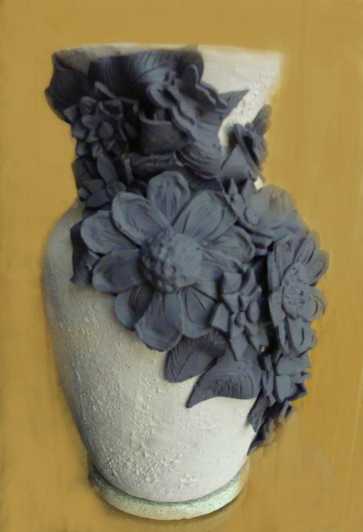 Polymer Clay Flower Vase by BluBeagle