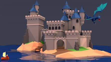 Low Poly Castle - Front View by Dustinnb