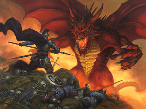 Indominable fantasy art oil painting