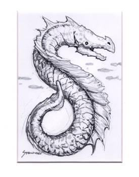 Sea Dragon Brush Marker Sketch