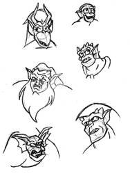 Gargoyle Faces by StaricoHoshi