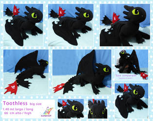 toothless giant dragon plushie by chocoloverx3