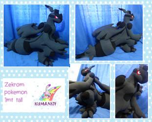 Zekrom pokemon giant plushie by chocoloverx3