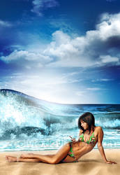 beach girl with phone