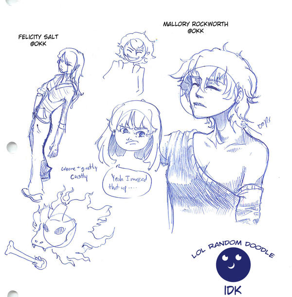 Doodles of Okk's Characters by fishy-kun