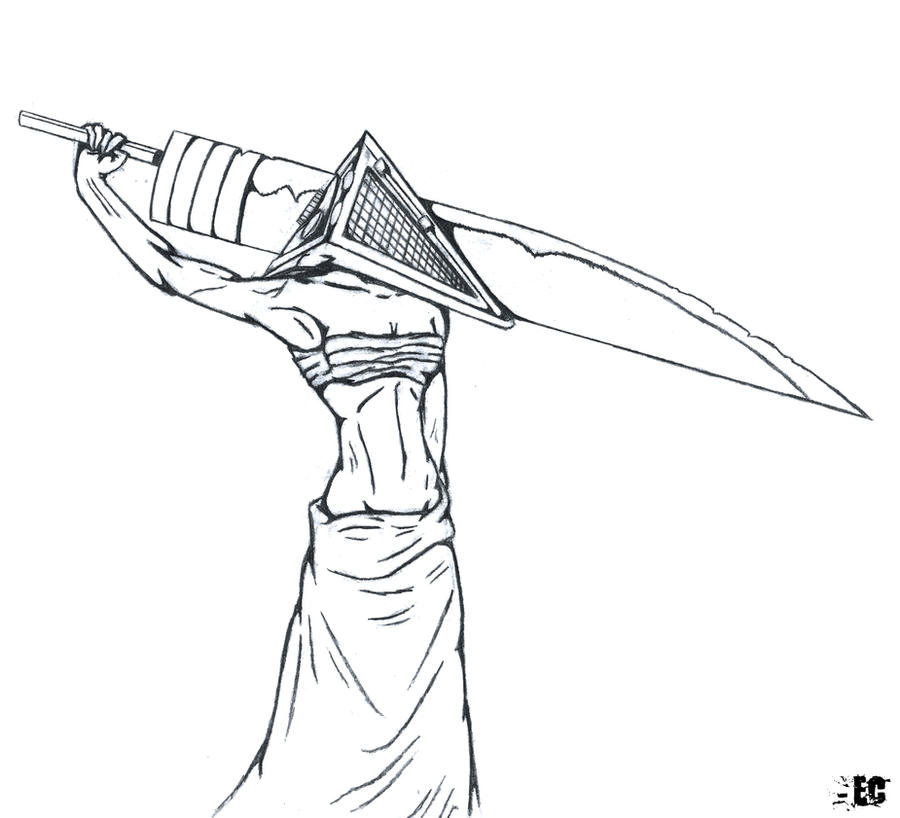 Female Pyramid Head Outline By EC DarkMatter