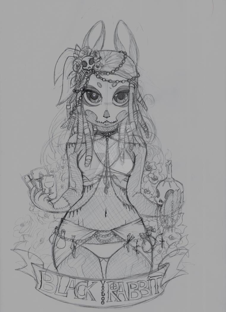 Black Voodoo Rabbit :sketch: by inami-chan