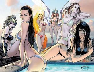 Aspen girls poolside by joebenitez
