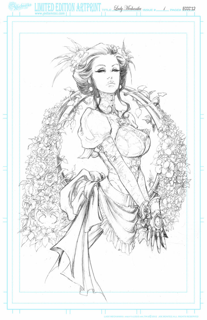 Lady M SpringFlowers  pencil Print by joebenitez