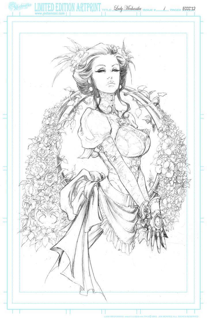 Lady M SpringFlowers  pencil Print by joebenitez