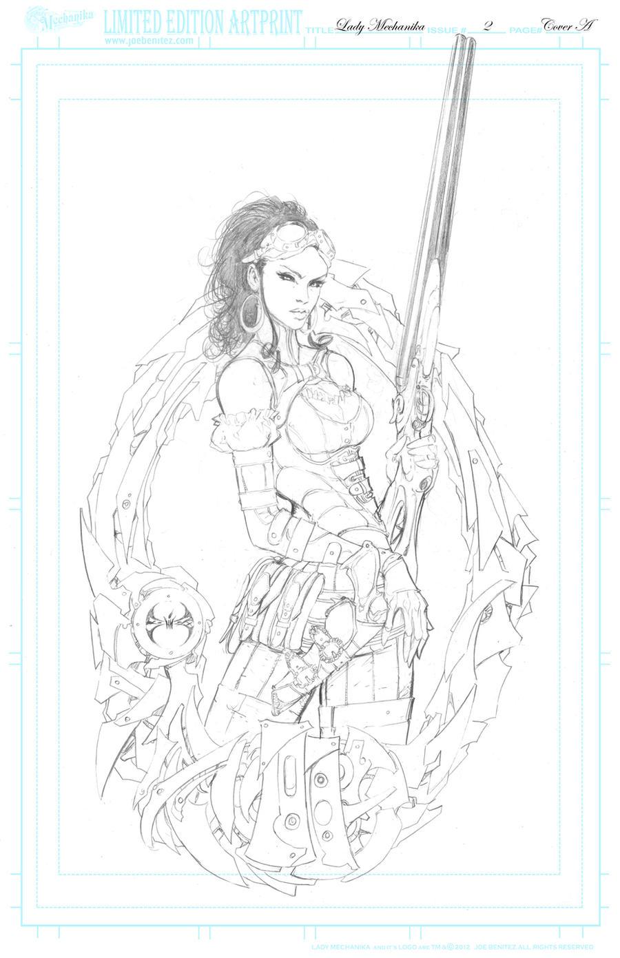 Lady M 2 cover  pencil Print by joebenitez
