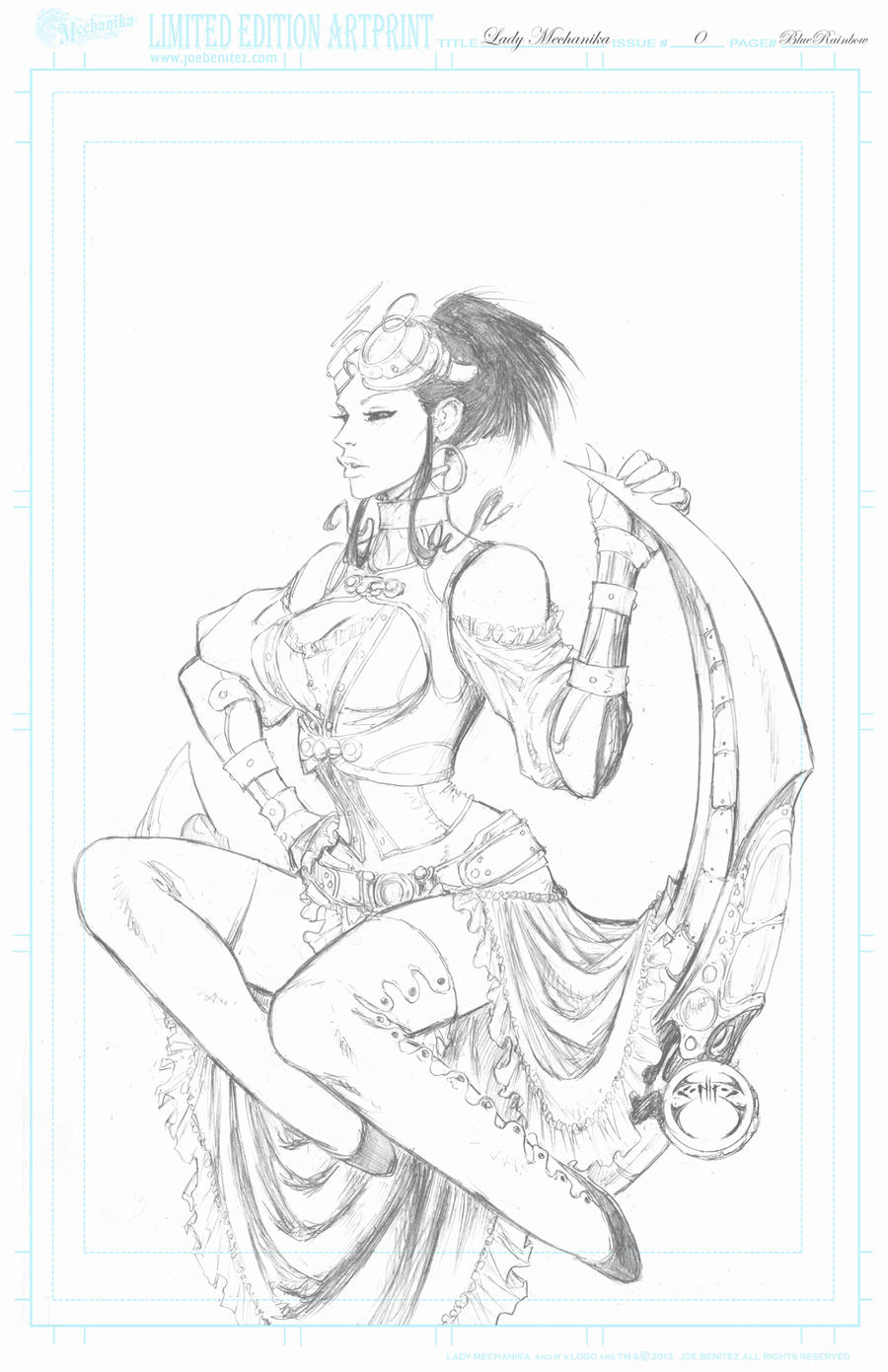 Lady M 0 BlueRainbow pencil Print by joebenitez