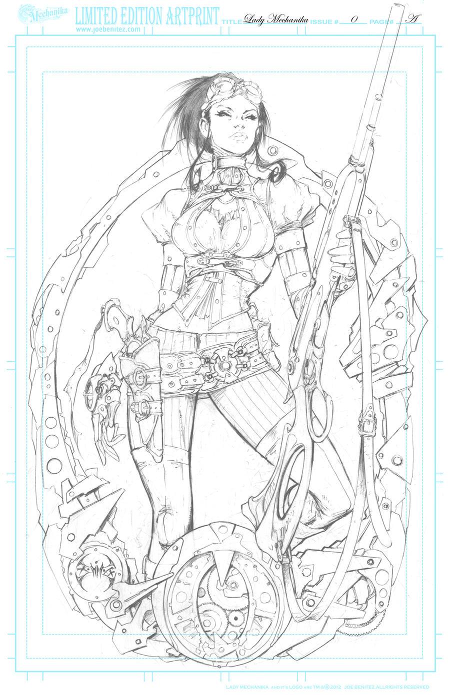 Lady M 0 Cover A pencil Print by joebenitez