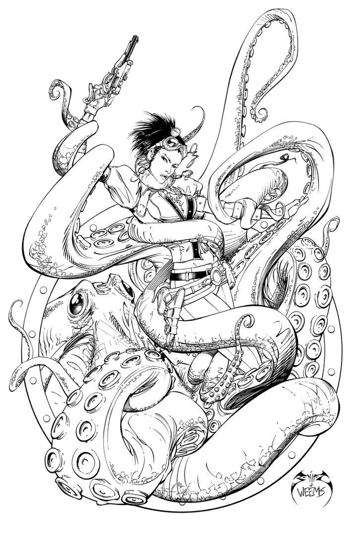 Lady Mechanika Octopus Comikaze by joebenitez