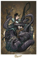 Lady M Octopus Attack Print by joebenitez