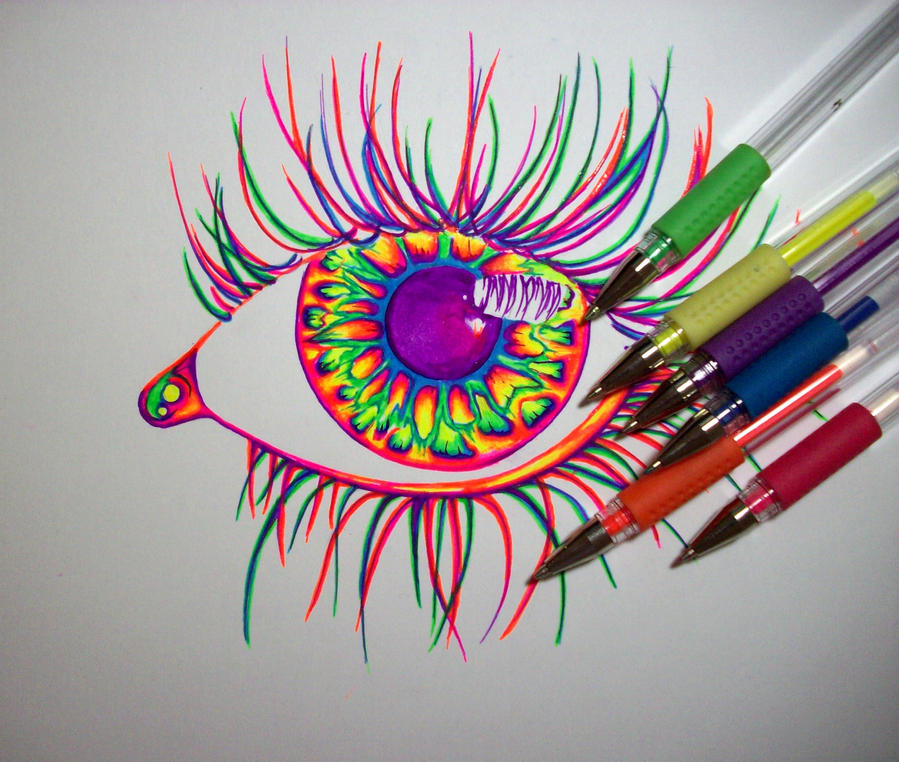 Wip gel pens by nicodauk on deviantart for Cool easy pen drawings
