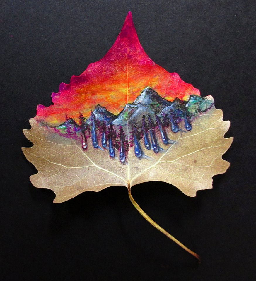 Psychedelic Mountains- Gel pen drawing on a leaf by NicoDauk