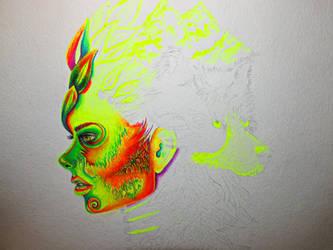 Gel pen art, work in progress.