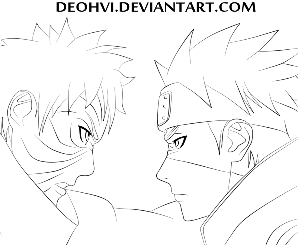 Line Art Vs Sketch : Naruto lineart kakashi vs obito by deohvi on