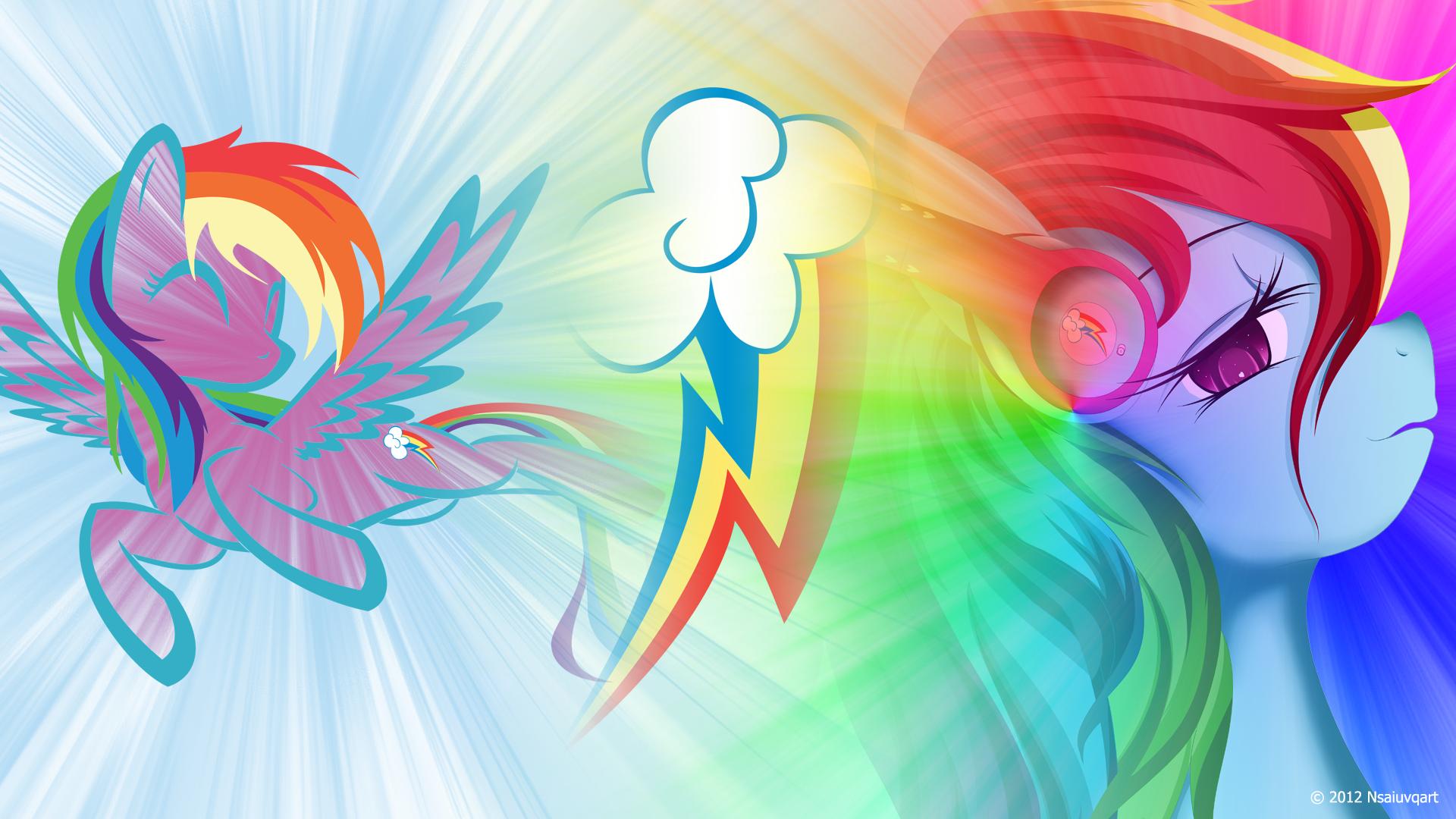 Rainbow Dash likes listening to music Wallpaper by nsaiuvqart