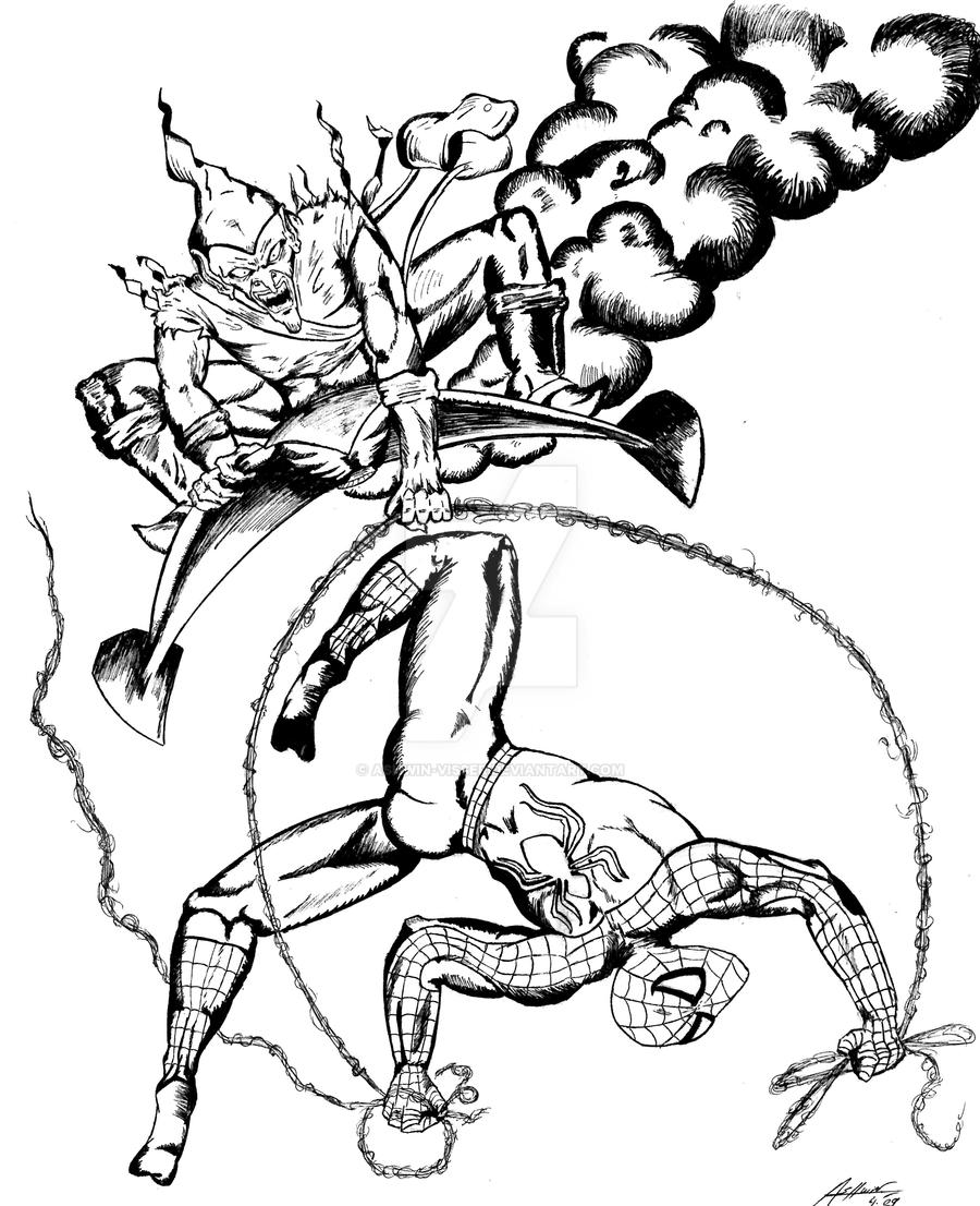 Spider man and green goblin by ashwin visser on deviantart for Green goblin coloring pages