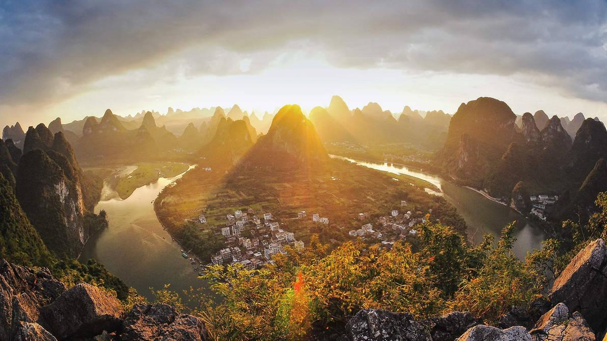 Xingping on the Li River in Guangxi, China by BalochDesign