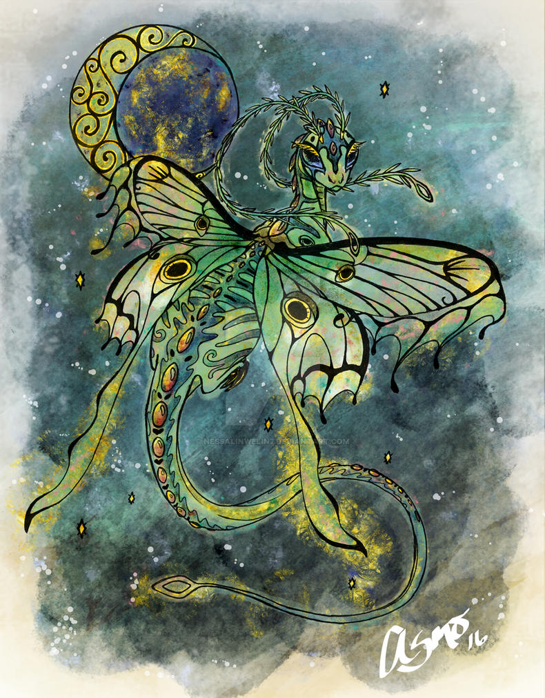 Luna Moth Fairy Dragon by nessalinwelin7