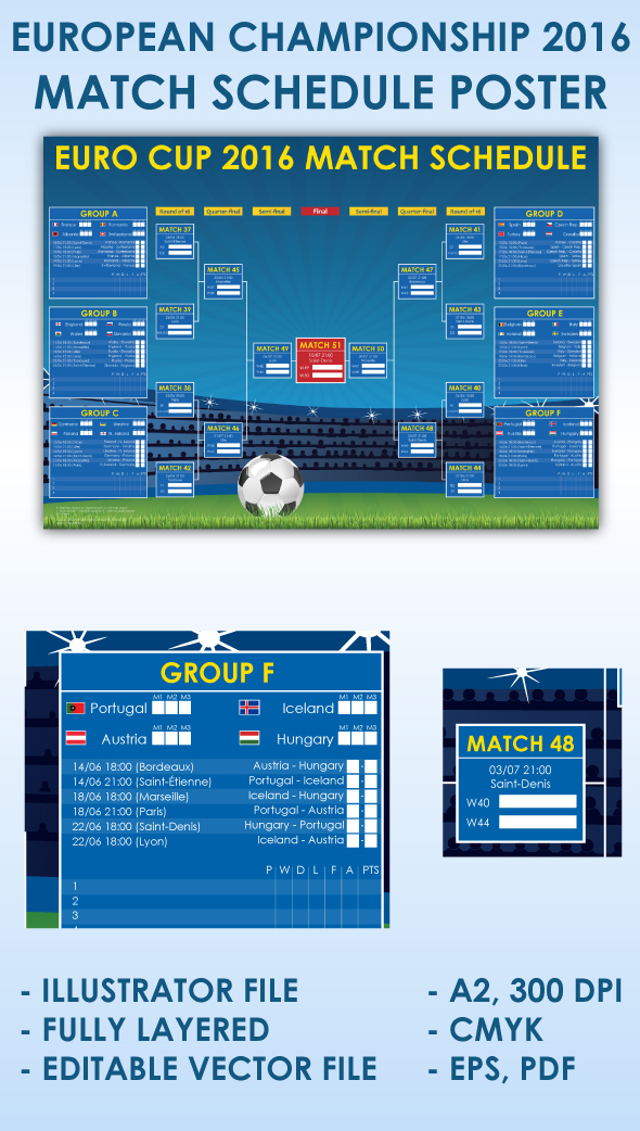 2016 uefa euro cup france match schedule by swirlvector on. Black Bedroom Furniture Sets. Home Design Ideas