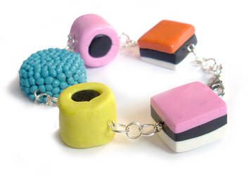 Liquorice All-Sorts Bracelet by InvisibleSnow