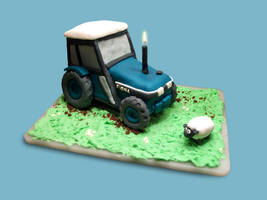 Tractor and Sheep Cake