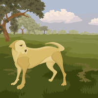 Dog in the Field by jennyweatherup