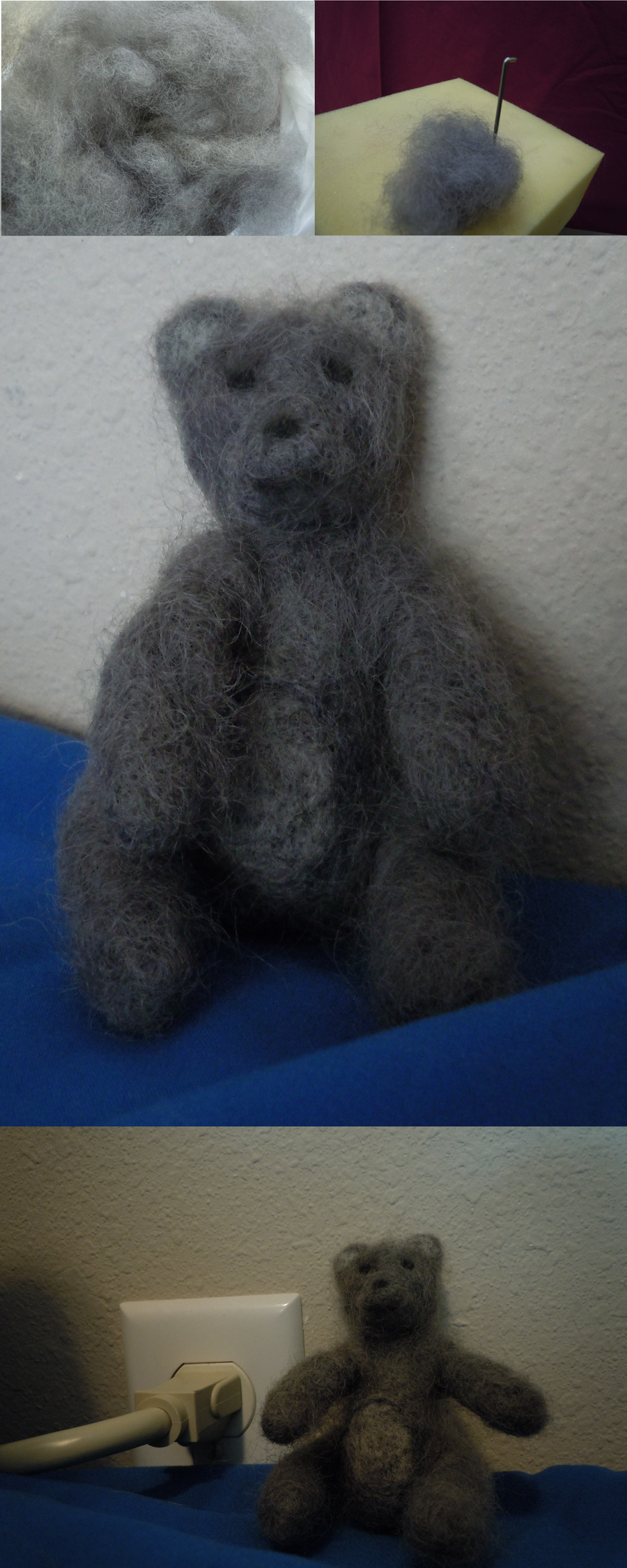 Grey Needle Felted Teddy by ShanSherazi