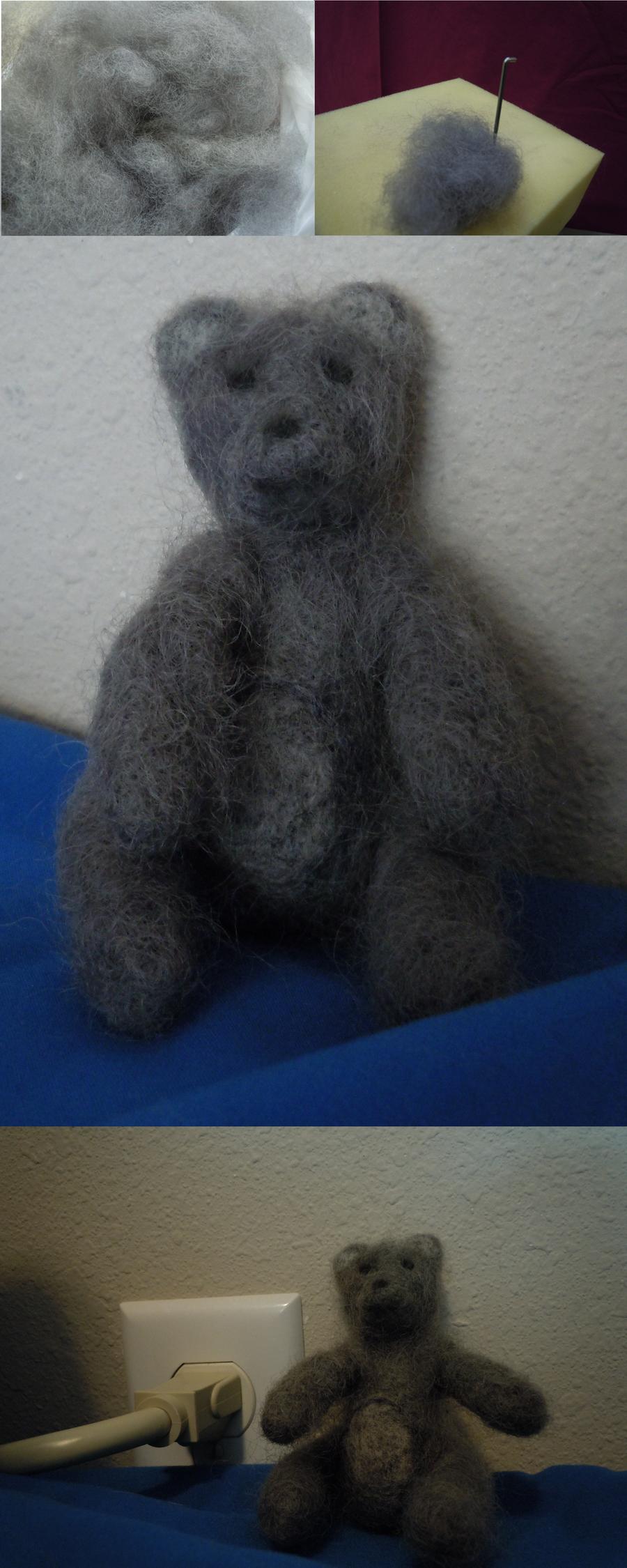 Grey Needle Felted Teddy by ShanSherazi
