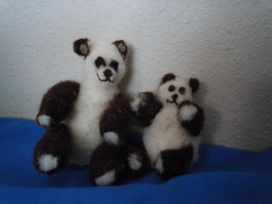 Needle Felted Panda Mother and Cub by ShanSherazi