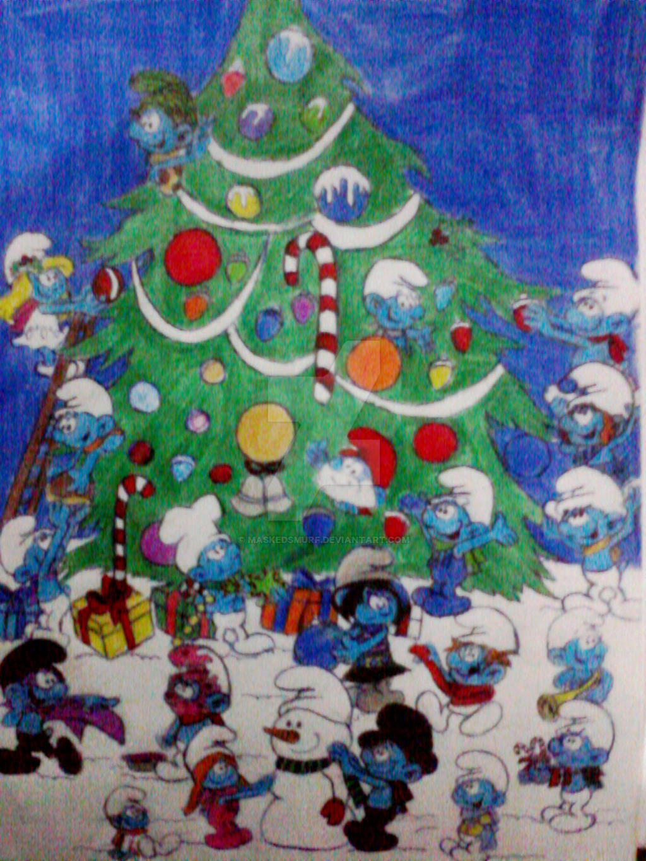 Smurfs Christmas by maskedsmurf on DeviantArt