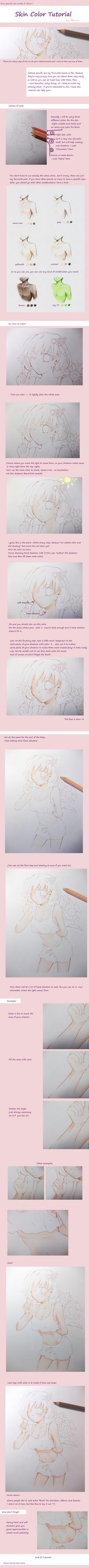 colored pencils- Skin Color Tutorial by Rhomi