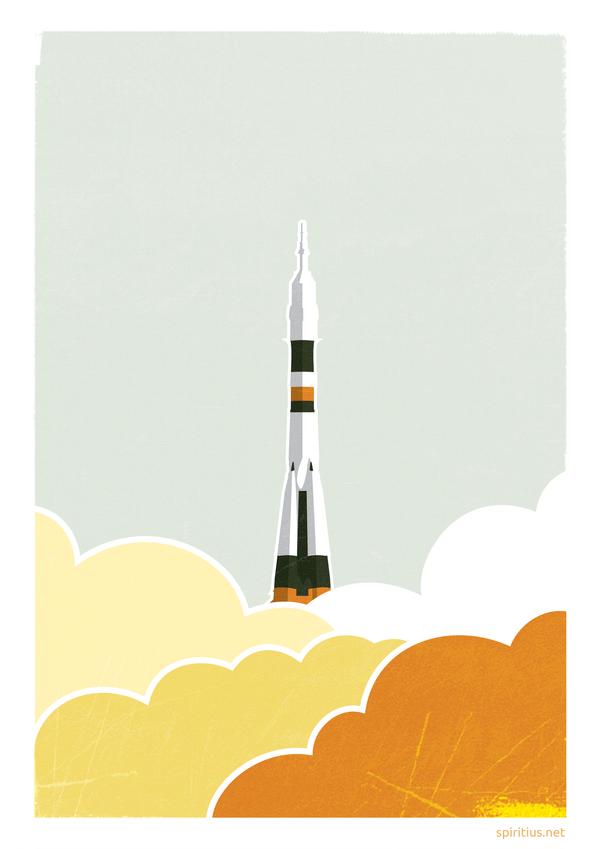"Poster ""Soyuz's start"" by Spiritius"