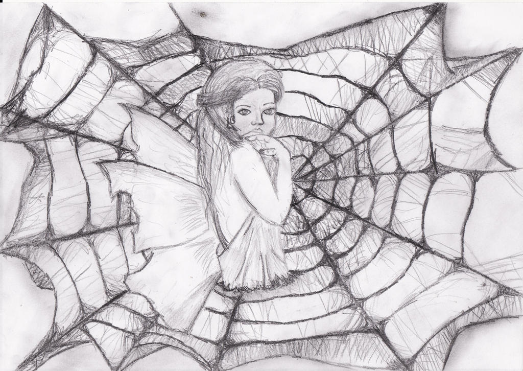 Butterfly girl stuck in spider web by Terezalilo