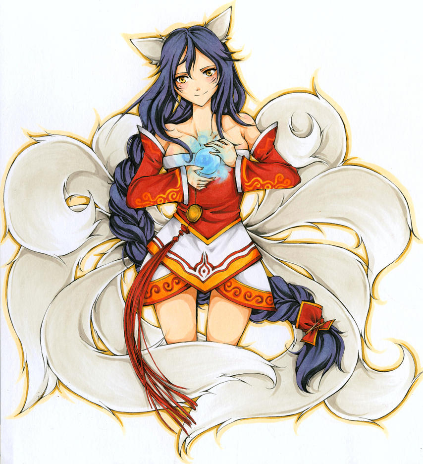 Ahri - League of Legends (for Loeffel) by momohamster