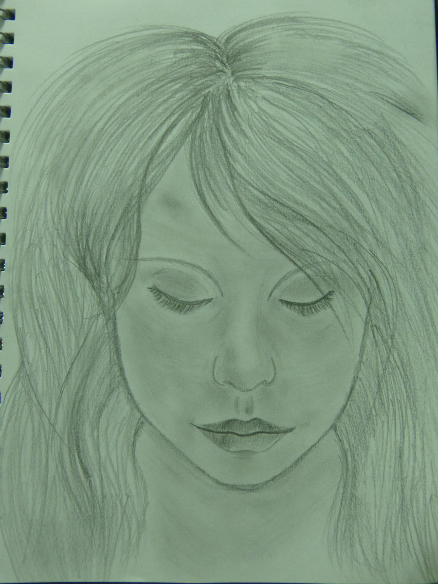 Girl looking down by bumblebeecinnamon on deviantart for How to draw a girl looking down