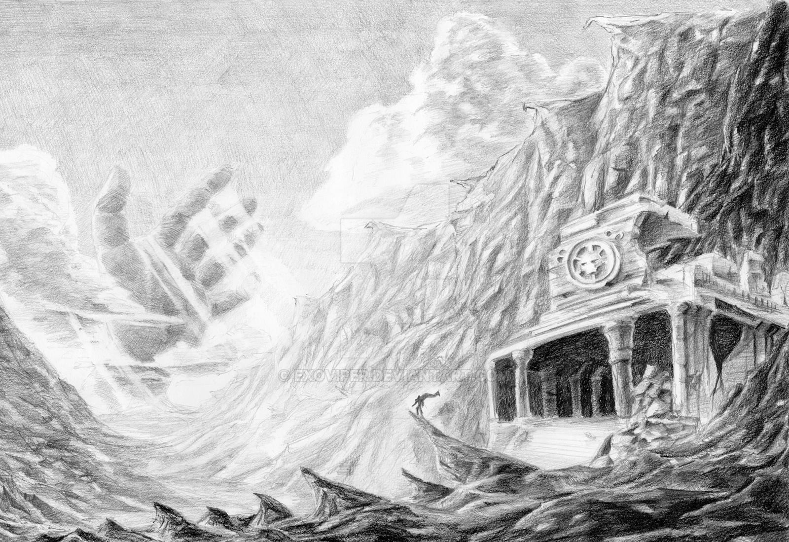Fantasy Landscape-Pencil by Exoviper on DeviantArt