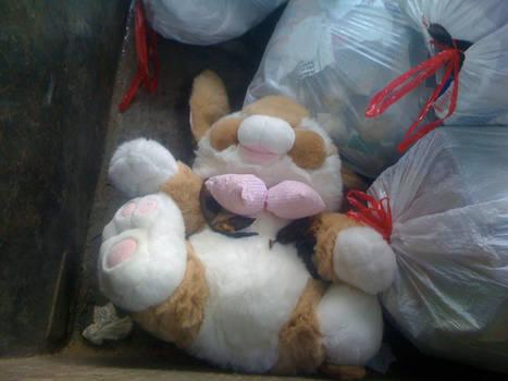 Giant Stuffed Bunny in the trash