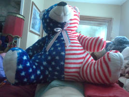 my Giant Red White Blue Flag Teddy Bear