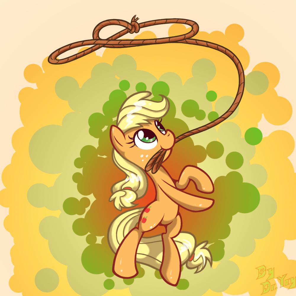 Applejack's roping by LordYanYu
