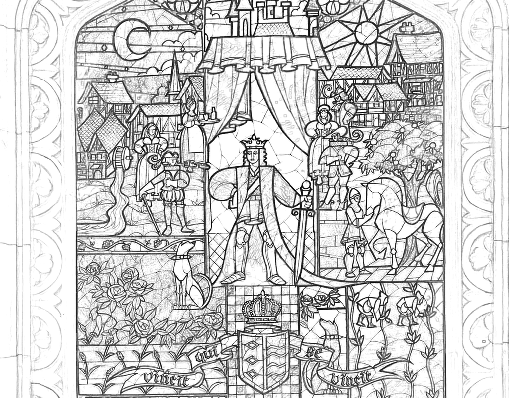 richard67915 4 0 beauty beast stained glass coloring page by richard67915