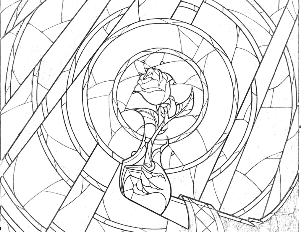 Stained Glass Rose Coloring Page by Richard67915 on DeviantArt